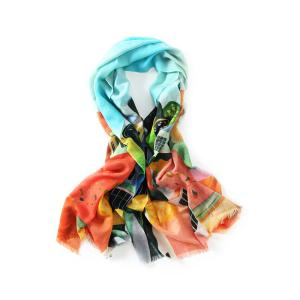 Innocence Watercolor House Painting Fringed Wool Scarf