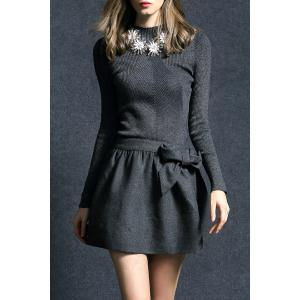 Bowknot Ribbed Sweater Dress