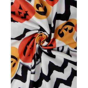Long Sleeve Halloween Pumpkin Print Dress -
