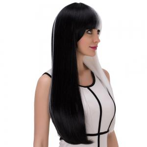 Long Full Bang Straight Tail Adduction Double Color Cosplay Synthetic Wig -