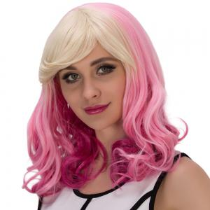 Fascinating Pear Flower Colored Medium Side Bang Wavy Cosplay Synthetic Wig -