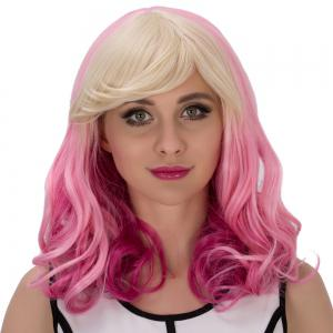 Fascinating Pear Flower Colored Medium Side Bang Wavy Cosplay Synthetic Wig - COLORMIX