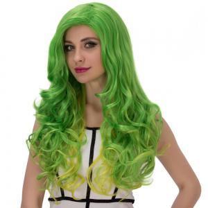 Gold Green Long Side Parting Wavy Cosplay Synthetic Wig -