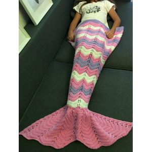 Comfortable Knitting Openwork Color Block Mermaid Blanket -