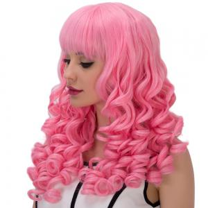 Towheaded Long Full Bang Curly Cosplay Synthetic Wig - PINK