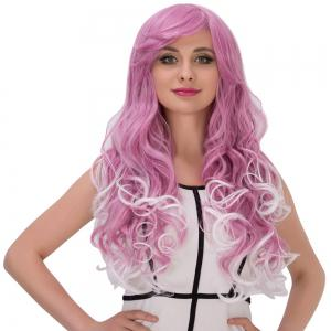 Long Fluffy Side Bang Wavy Purple Mixed White Cosplay Synthetic Wig -