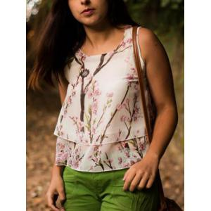 Scoop Neck Chiffon Floral Printed Tank Top -