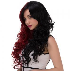 Long Fluffy Side Bang Wavy Double Color Cosplay Synthetic Wig - RED/BLACK