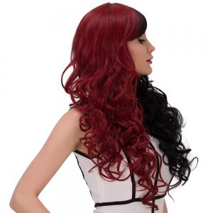 Long Fluffy Side Bang Wavy Double Color Cosplay Synthetic Wig - RED WITH BLACK