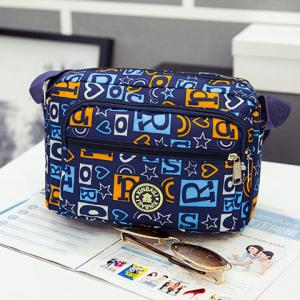 Nylon Printed Crossbody Bag - BLUE