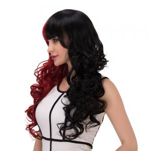 Long Fluffy Full Bang Wavy Double Color Cosplay Synthetic Wig - RED/BLACK