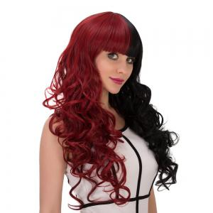 Long Fluffy Full Bang Wavy Double Color Cosplay Synthetic Wig - RED WITH BLACK