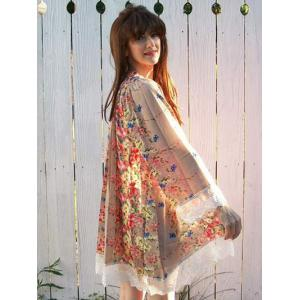 Collarless Long Sleeve Laciness Floral Kimono Blouse -