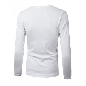 Crew Neck PU-Leather Splicing Color Block T-Shirt - WHITE 2XL