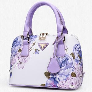 Floral Printed Handbag - PURPLE