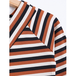 Color Block Striped Knitwear - COFFEE XL