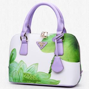 Floral Printed Handbag - GREEN