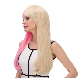 Long Full Bang Tail Adduction Double Pink Gold Color Cosplay Synthetic Wig -