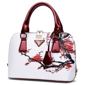 Floral Printed Handbag - RED