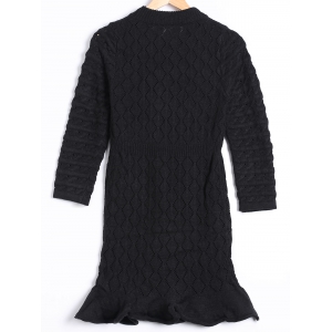 Hollow Out Mini Long Sleeve Sweater Dress -