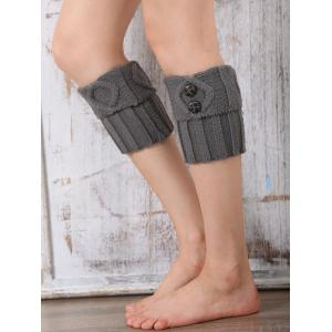 Warm Buttons Rhombus Flanging Boot Cuffs - LIGHT GRAY