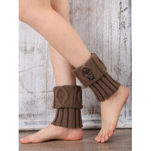 Warm Buttons Rhombus Flanging Boot Cuffs - LIGHT COFFEE