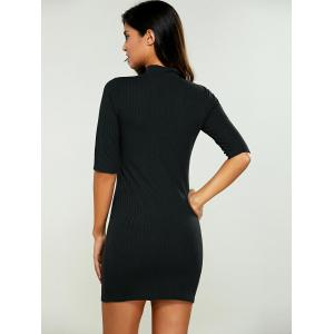 High Neck Bodycon Ribbed Knit T Shirt Dress -