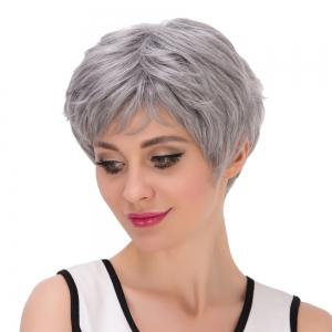 Short Shaggy Oblique Bang Synthetic Wig - SILVER GRAY