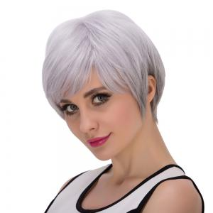 Short Fluffy Oblique Bang Straight Synthetic Wig - SILVER GRAY