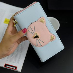 Color Block Cat Head Motif Clutch Wallet -