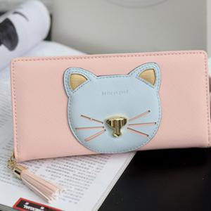 Color Block Cat Head Motif Clutch Wallet - Rose Pâle