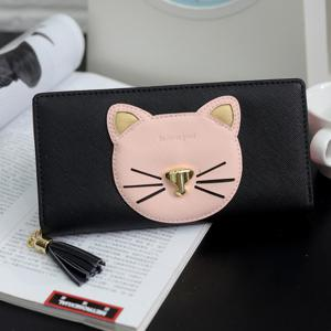 Color Block Cat Head Motif Clutch Wallet - Noir