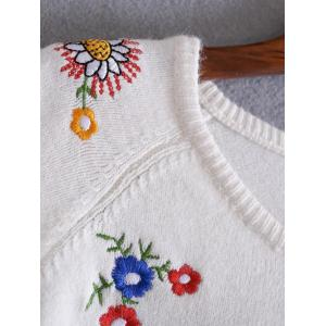 Floral Embroidery Pullover Sweater -