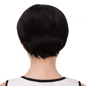 Ultrashort Inclined Bang Straight Bob Synthetic Wig - JET BLACK