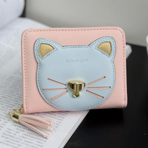 Cat Motif Head Bi-Fold Wallet -