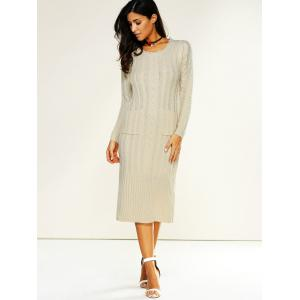 Longline Jumper Dress with Pockets - OFF-WHITE ONE SIZE