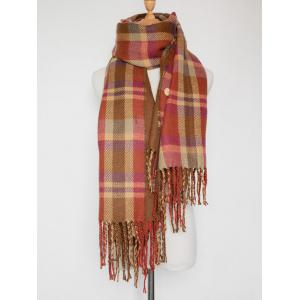 Double Sided Fringe Plaid Scarf - RED