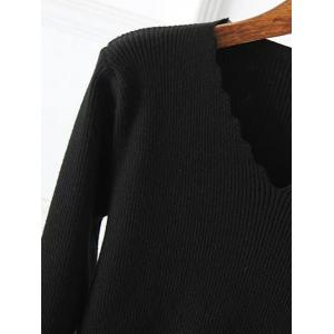Plus Size Wavy Cut Ribbed Pullover - WINE RED ONE SIZE