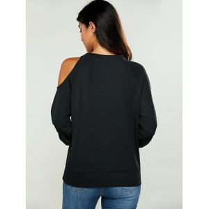 Faux Pearl Cold Shoulder Sweatshirt -