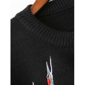 Crane Embroidery Pullover Sweater -