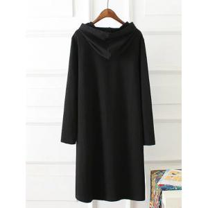 Plus Size Hooded Letter Printed Dress - BLACK 3XL