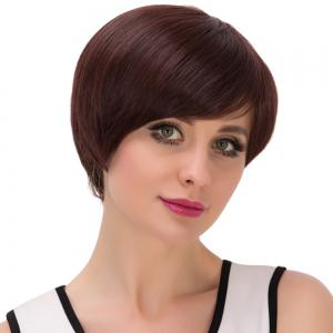 Ultrashort Oblique Bang Bob Straight Synthetic Wig -