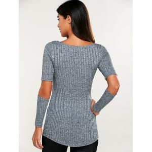 Ribbed Cut Out Heathered Knitwear - GRAY XL