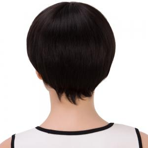 Short Bob Straight Inclined Bang Synthetic Wig - JET BLACK