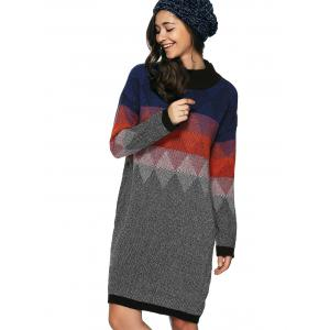 Zigzag Argyle Print Tunic Knitted Jumper Dress - COLORMIX ONE SIZE(FIT SIZE XS TO M)