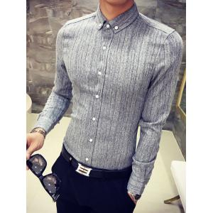 Slim Fit Long Sleeve Button-Down Shirt - GRAY XL