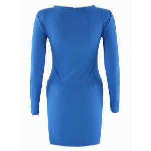Long Sleeve V Neck Mini Bodycon Dress - SAPPHIRE BLUE S