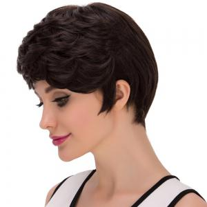 Short Layered Oblique Bang Straight Synthetic Wig - BLACK BROWN