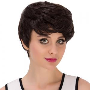 Short Layered Oblique Bang Straight Synthetic Wig -