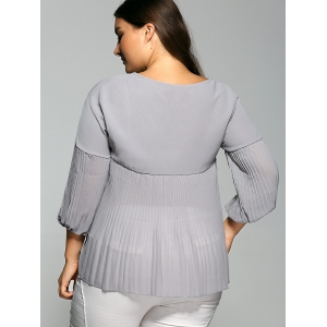 Lace-Up Plus Size Pleated Blouse -